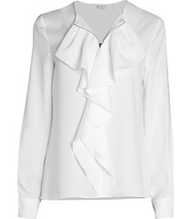 bailey 44 women's davis ruffle blouse - chalk - size s