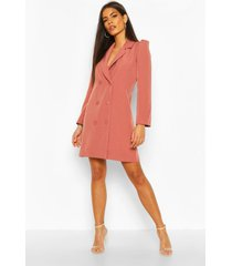 puff sleeve double breasted dress, rose
