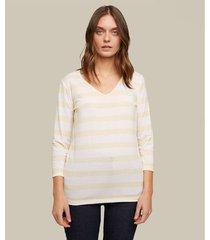 camiseta manga 3/4 cuello en v estampado rayas horizontales