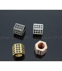 black zircon gemstones pave hexagonal rondelle bracelet connector charm beads