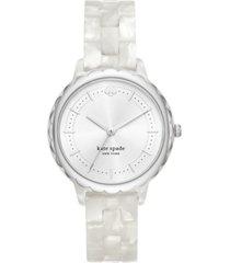 kate spade new york women's morningside white acetate bracelet watch 38mm