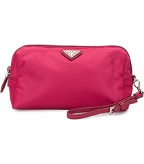 prada pre-owned triangle logo cosmetic bag - pink