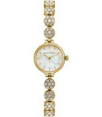 bcbgmaxazria ladies goldtone crystal bracelet with mop dial, 22mm
