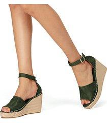 peep toe de gamuza verde sandalias