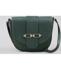 bolsa feminina transversal pequena com lapela texturizada e fivela verde escuro