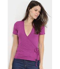 blusa colcci transpassada canelada feminina
