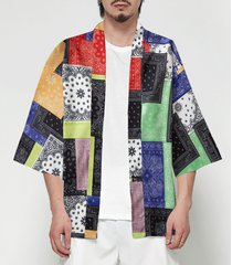 cárdigan con estampado de bloque de color kimono de estilo japonés para hombre