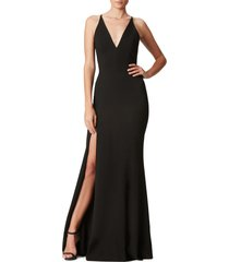 women's dress the population iris crepe trumpet gown