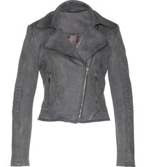 giacca biker in similpelle scamosciata (grigio) - bpc selection premium