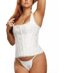 icollection plus size brocade racer back corset 2pc lingerie set