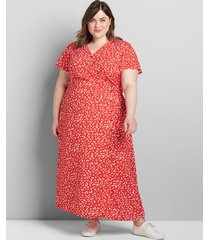 lane bryant women's asymmetrical button-front midi dress 24 coral/white print