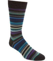 men's pantherella 'quaker' stripe socks, size medium - black
