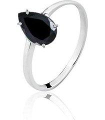 anel solitário gota zircônia negra banhado ródio lys lazuli feminino - feminino