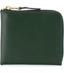 comme des garçons wallet zip-up leather wallet - green