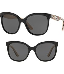burberry marblecheck 55mm square sunglasses in black solid at nordstrom