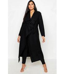 plus lange nepwollen wikkel jas, black