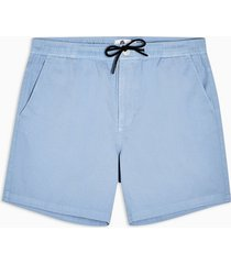 mens blue twill woven pull on shorts