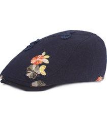berretti in cotone rana folk-custom vintage da donna con cappellino parasole anteriore