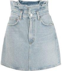 agolde lettuce waistband denim skirt - blue