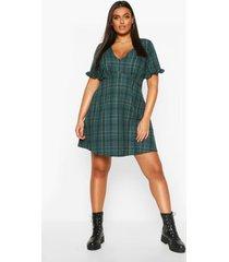 plus flannel ruffle smock dress, green