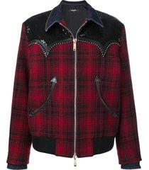 dsquared2 tartan studded jacket
