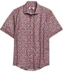 joseph abboud pink bird pattern sport shirt