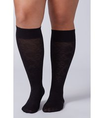lane bryant women's solid & lace trouser socks 2-pack onesz black