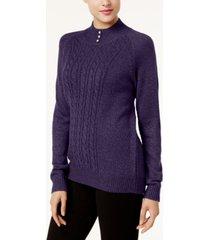karen scott button-trim mock-neck sweater, created for macy's