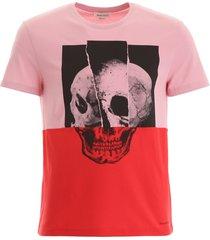 alexander mcqueen bicolor skull t-shirt
