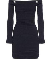 balmain off shoulder-style viscose knit dress