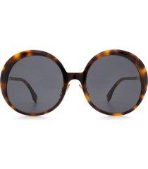 fendi fendi ff 0430/s brown havana sunglasses
