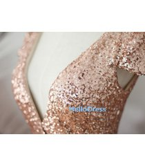 long cap sleeves v neck champagne gold sequin bridesmaid prom homecoming dresses