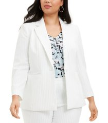 nine west plus size pinstriped single-button blazer