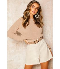 crop fisherman sweater, stone