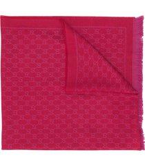 gucci gg jacquard-knit scarf - pink