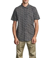 men's rvca bellflower short sleeve button-up shirt, size x-large - black