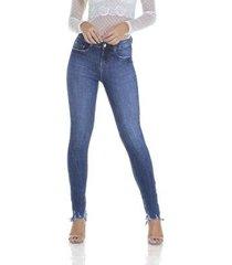 calça jeans denim zero skinny puídos feminino