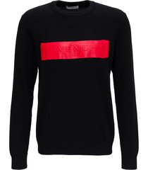 givenchy knitted wool sweater with latex covered logo
