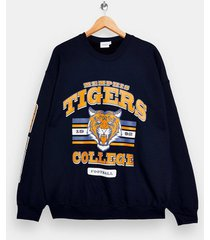 mens blue navy memphis tiger print sweatshirt