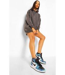 oversized overdye hoodie jurk, charcoal