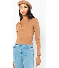 akira busy bee long sleeve front zip sweater
