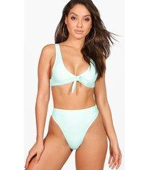 mix & match geknoopte driehoekige bikini top, muntgroen