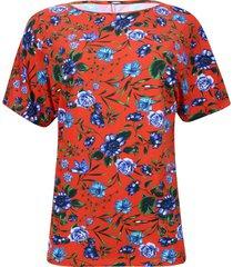 camiseta cuello barco flores color naranja, talla m