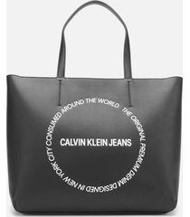 calvin klein jeans women's sculpted east west tote bag 29 - black