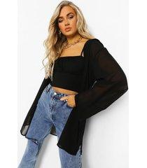 satijnen onderjurk en chiffon blouse, black