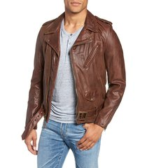 men's schott nyc hand vintaged cowhide leather motorcycle jacket, size x-large - brown
