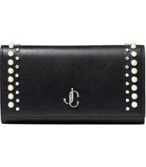 jimmy choo pearl-embellished martina wallet - black
