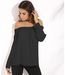 zanzea camisas con hombros descubiertos 2018 primavera blusas de mujer casual elegante slash neck manga larga blusas sólidas tops tallas grandes de gran tamaño negro -negro