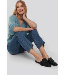 na-kd shoes application detailed slipper - black