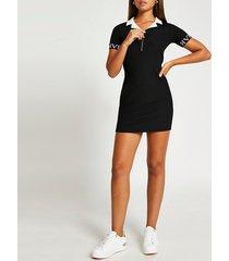 river island womens black ri fitted polo dress